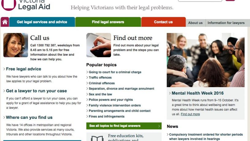 Home page of Victoria Legal Aid