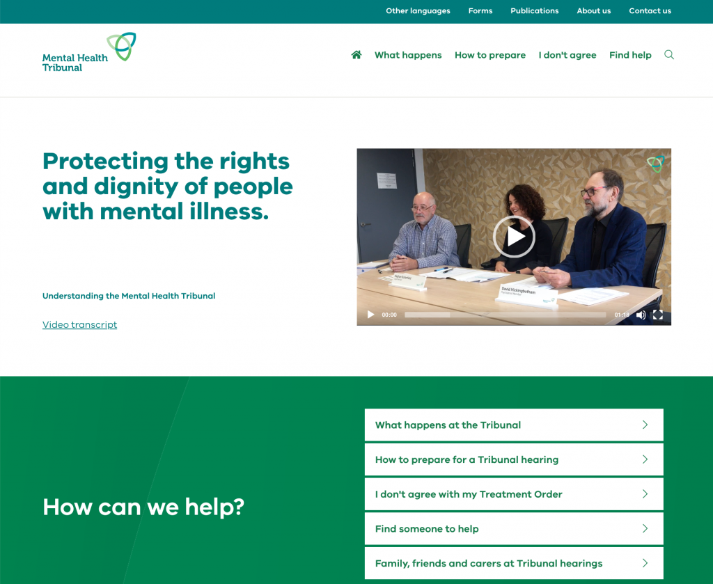 Home page for the Mental Health Tribunal which has a video and the heading 'Protecting the rights and dignity of people with mental illness'.